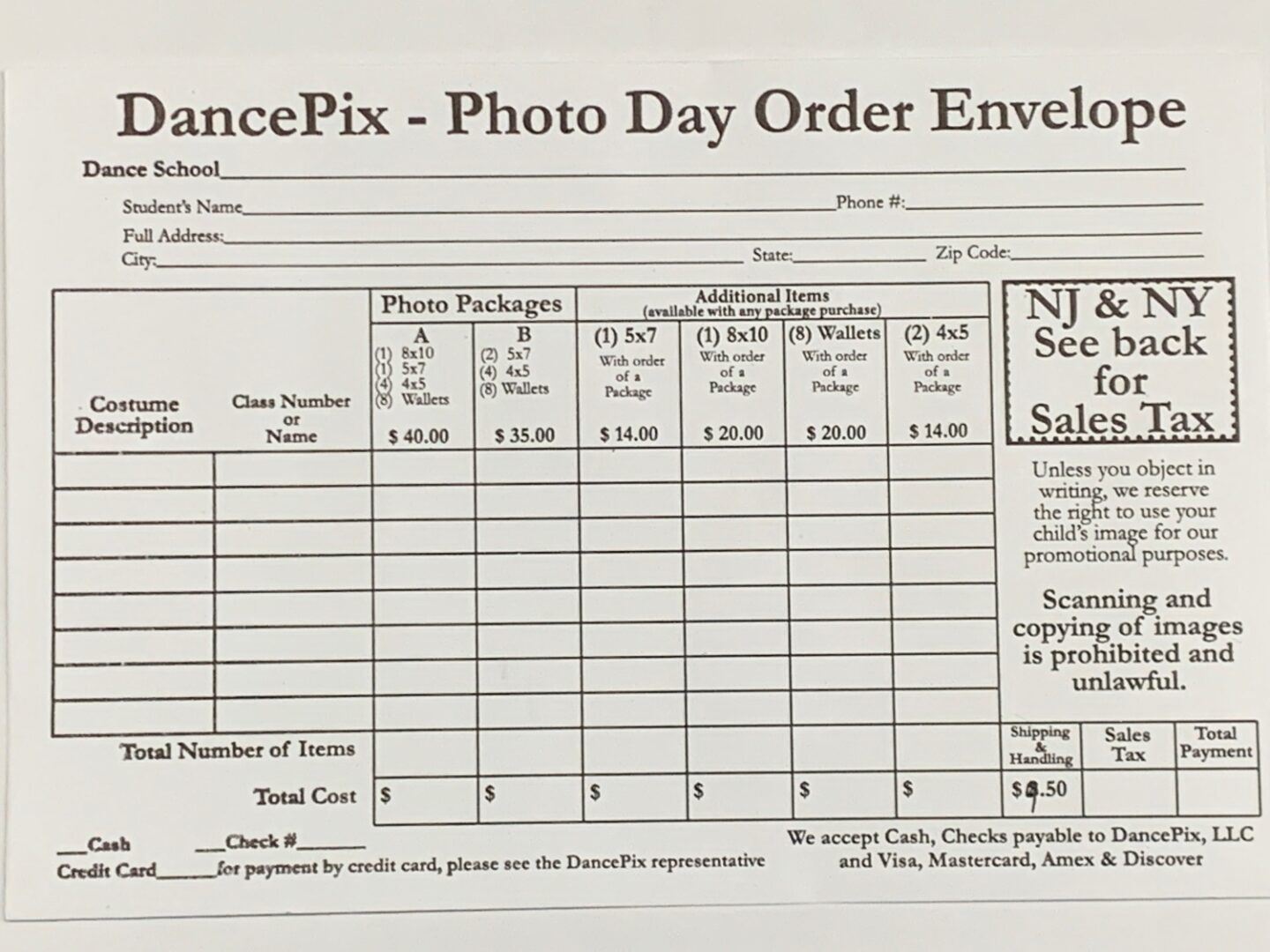 DancePix envelope